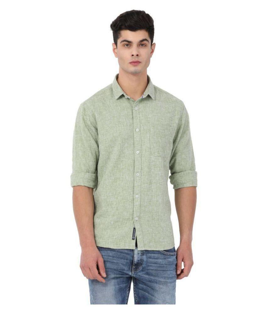 Crosscreek Green Casual Slim Fit Shirt
