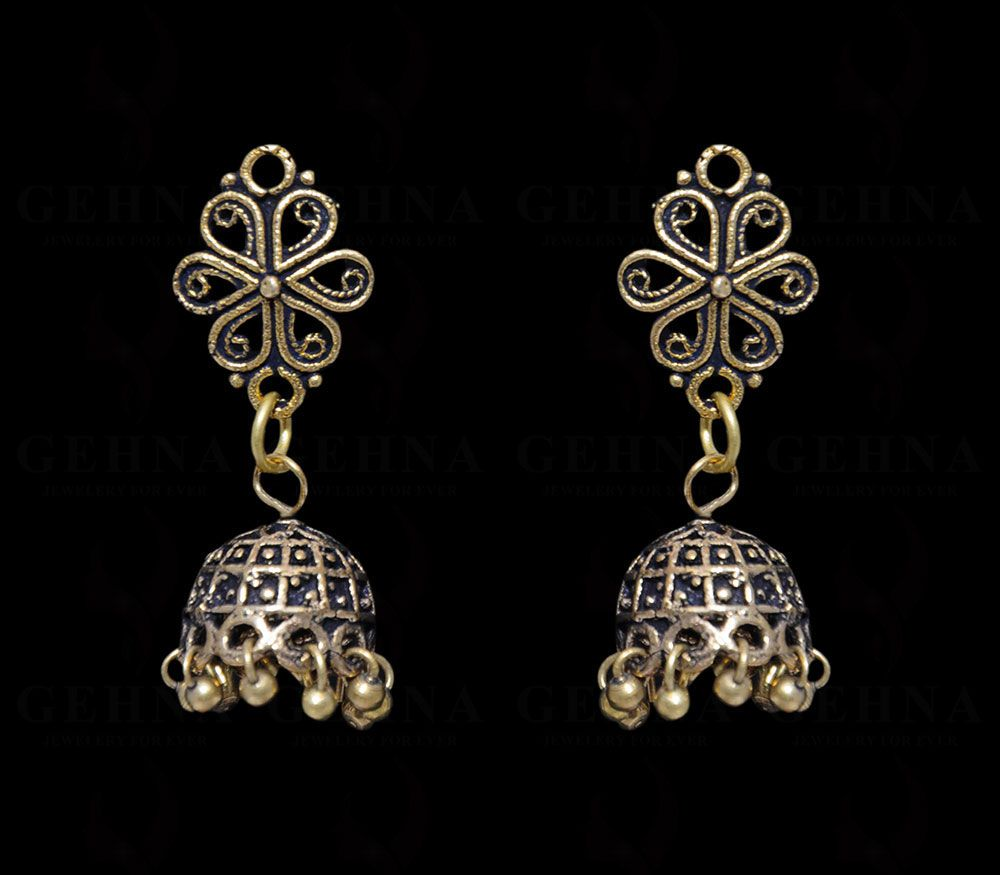 Floral Shaped Fashionable jhumki Earring In .925 Silver Overlay