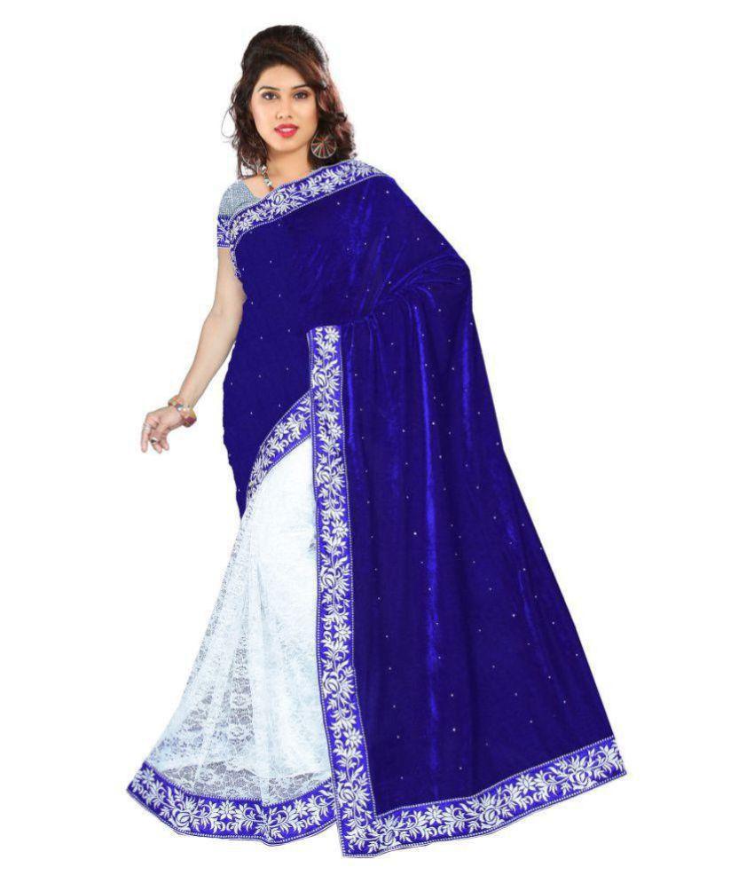 PR Creation White and Blue Velvet Saree