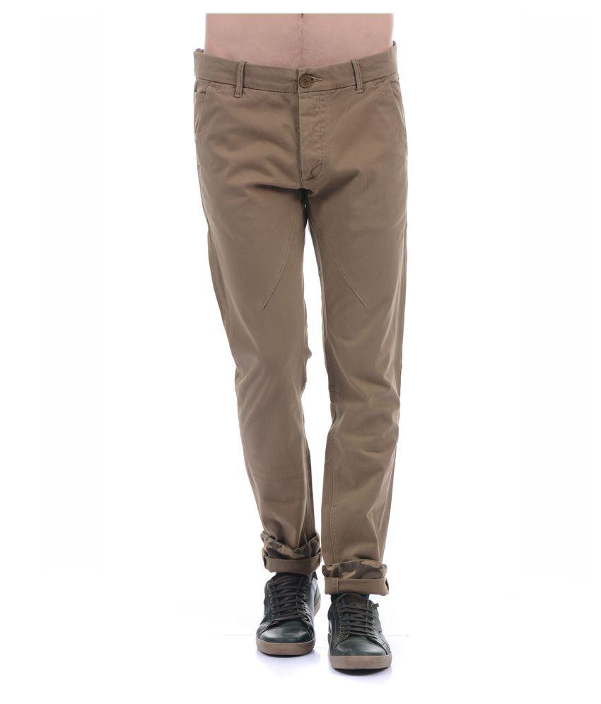 Pepe Jeans Brown Regular -Fit Flat Trousers