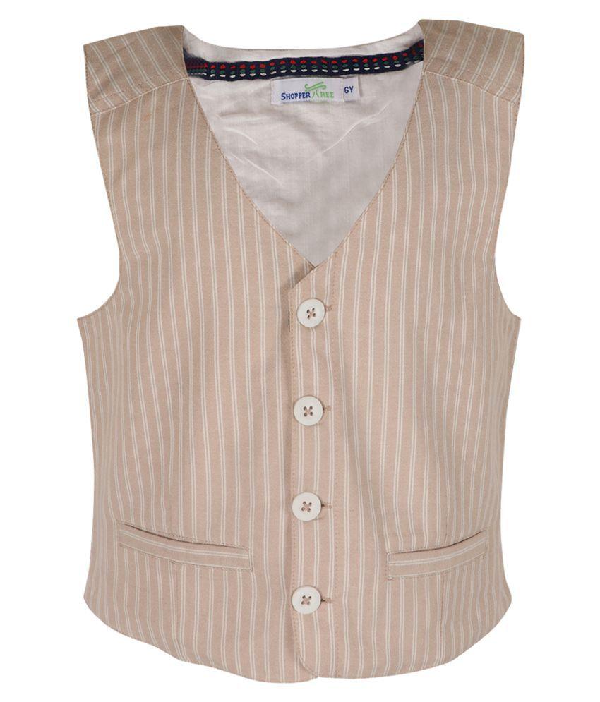 ShopperTree Linen Striped Brown Waist Coat for Girls