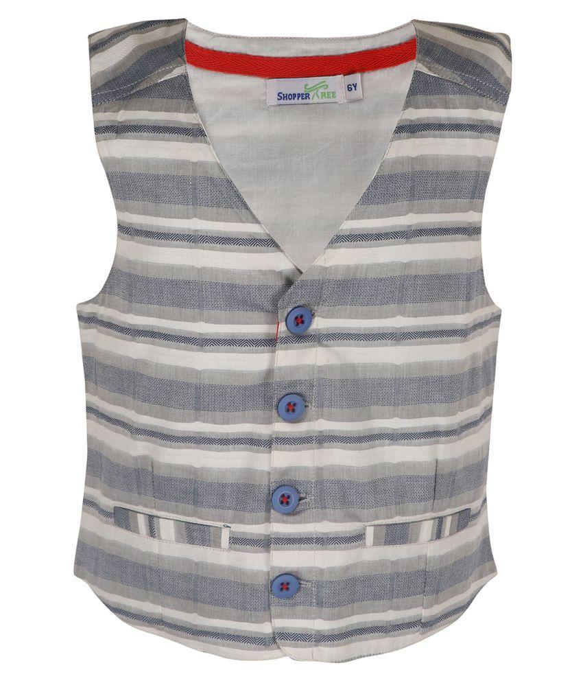 ShopperTree Linen Striped Grey Waist Coat for Girls