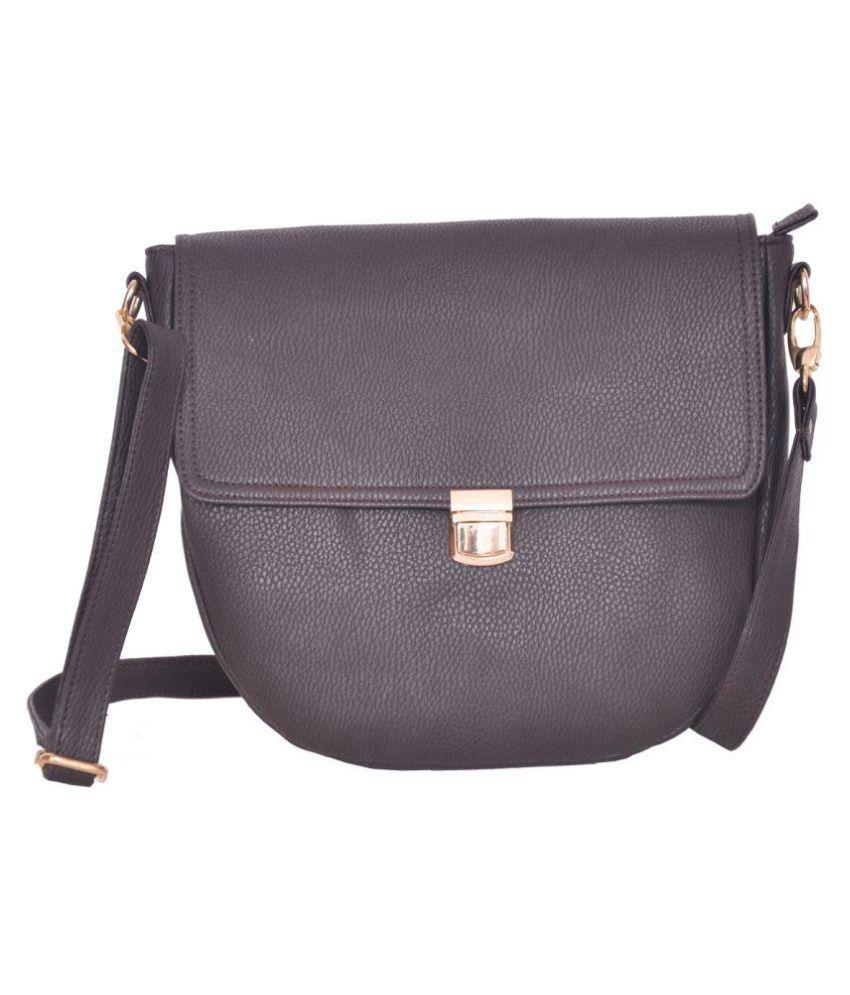 Purnima Brown Leather Casual Messenger Bag
