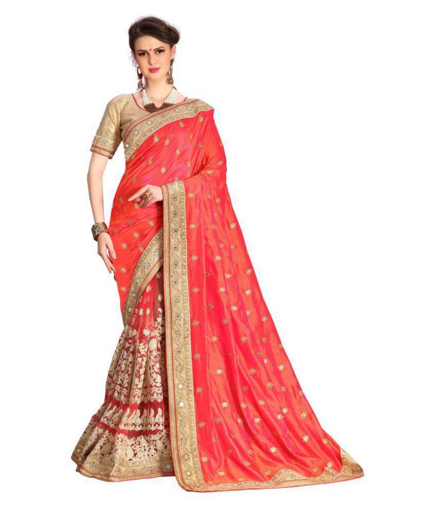 Ujjwal Creation Pink Silk Saree