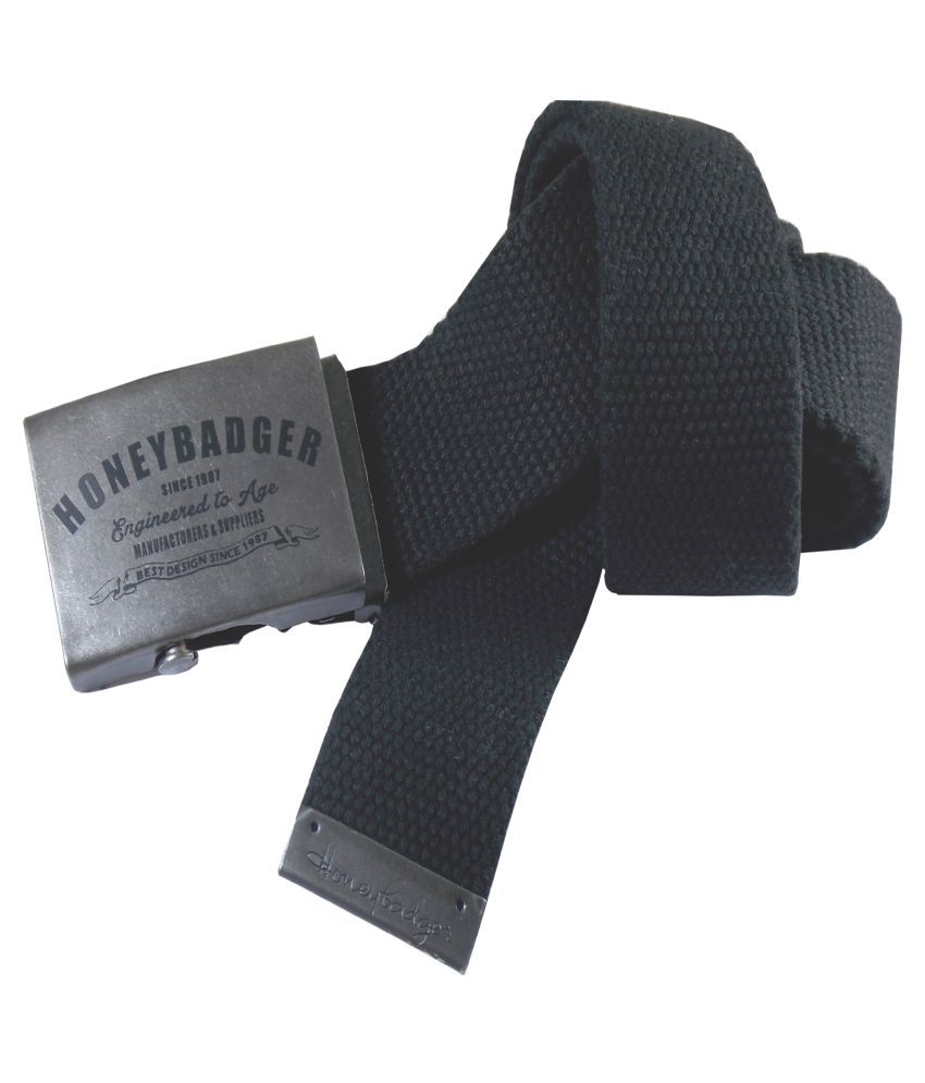 HoneyBadger Black Canvas Casual Belts