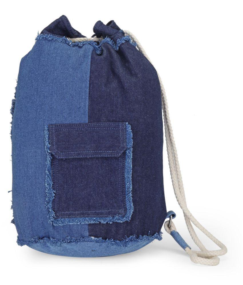 London Rag Denim Blue Canvas Backpack