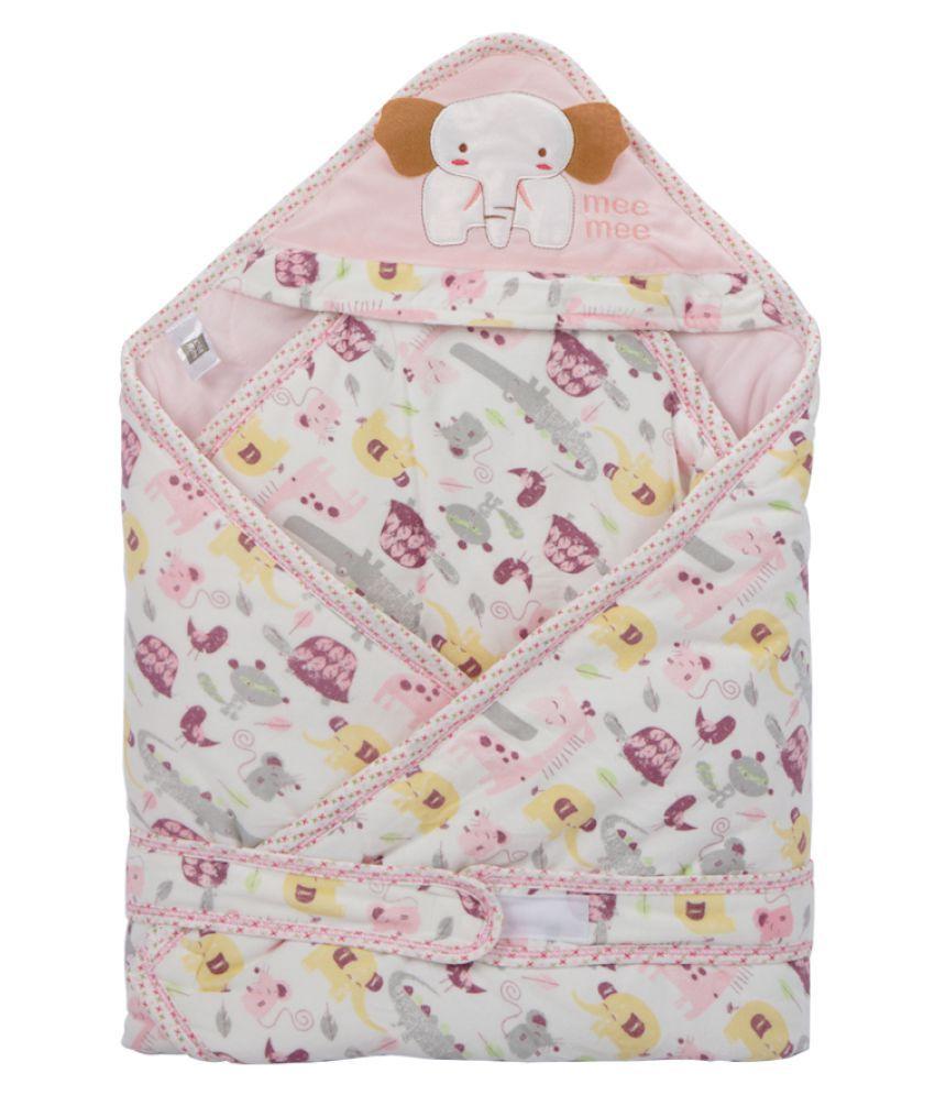 Mee Mee Pink Cotton Baby Wrap cum blanket ( 39 cm × 7 cm - 1 pcs)