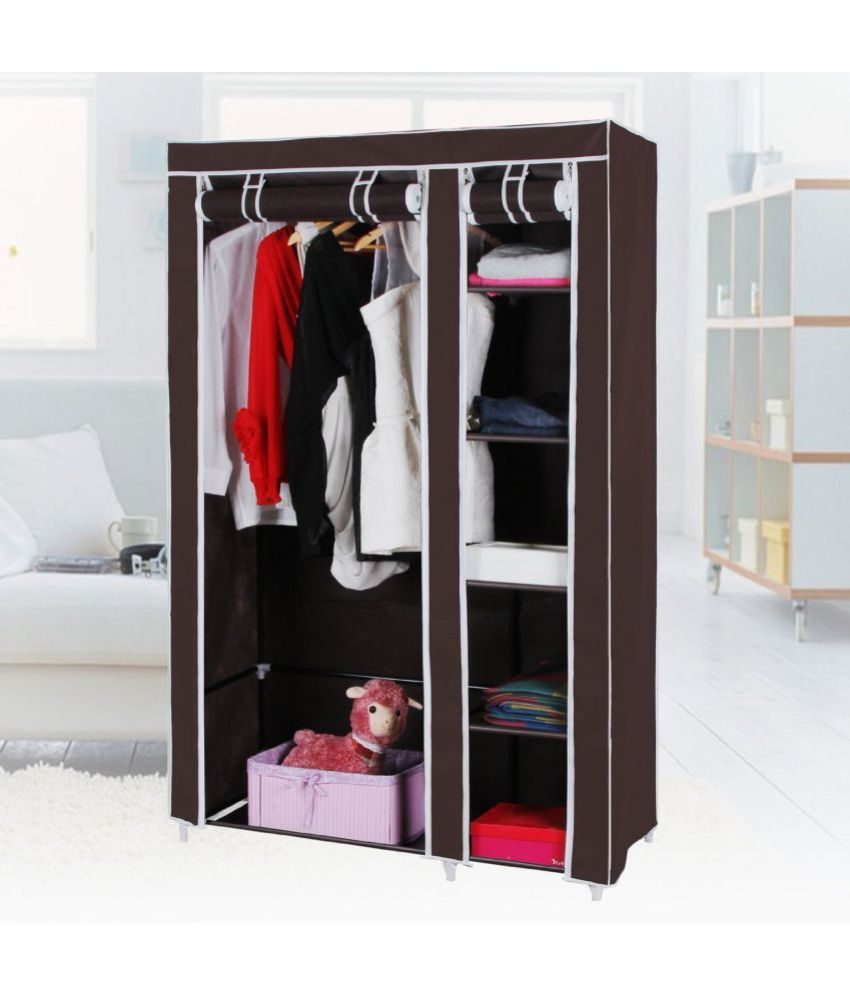 Fancy And Portable Non Woven Canvas Fabric Double Door Wardrobe