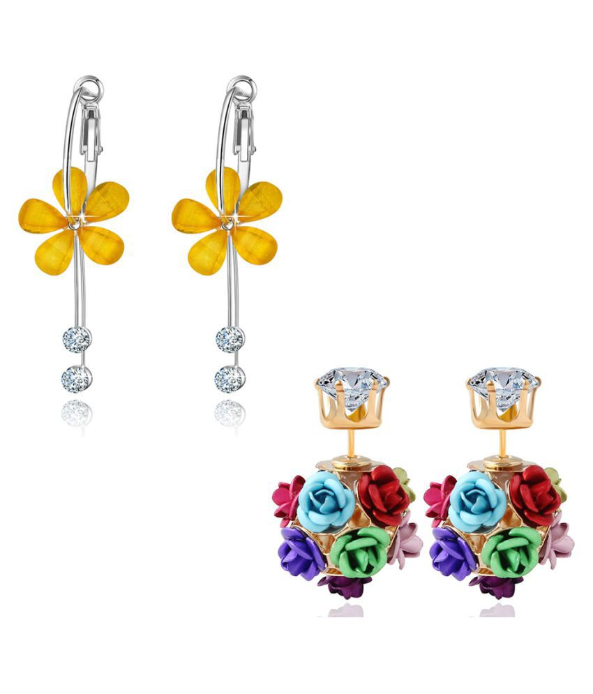 Jewels Galaxy Exclusive Luxuria Brilliant Colors Floral Design Fascinating Pair Of Earrings For Women/Girls - Combo Of 2