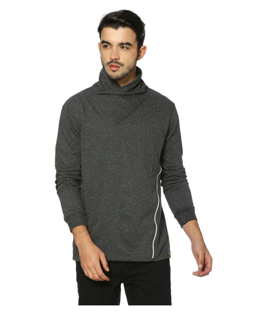 Campus Sutra Grey Shawl Collar Sweatshirt