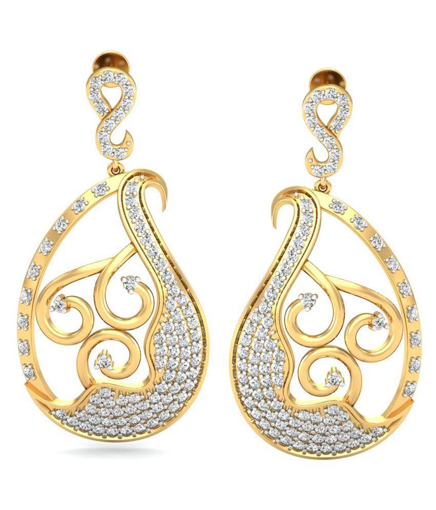 Gili 18k BIS Hallmarked Gold Diamond Drop Earrings
