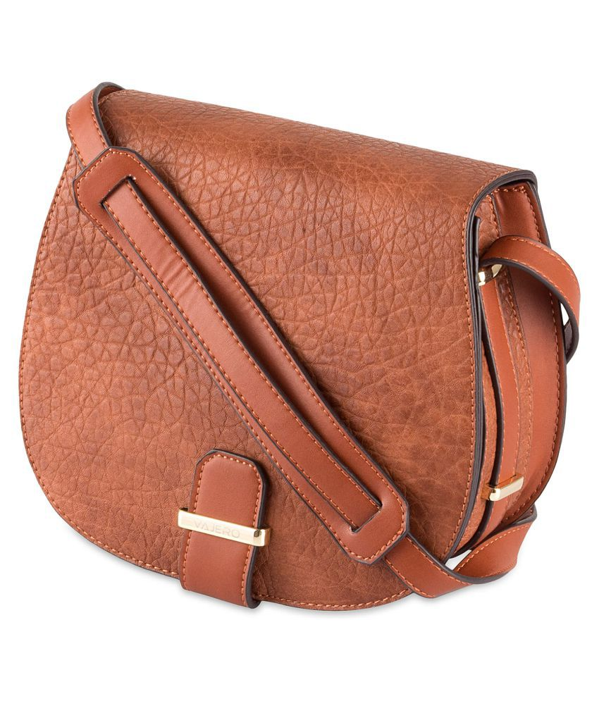 Vajero Brown P.U. Casual Messenger Bag