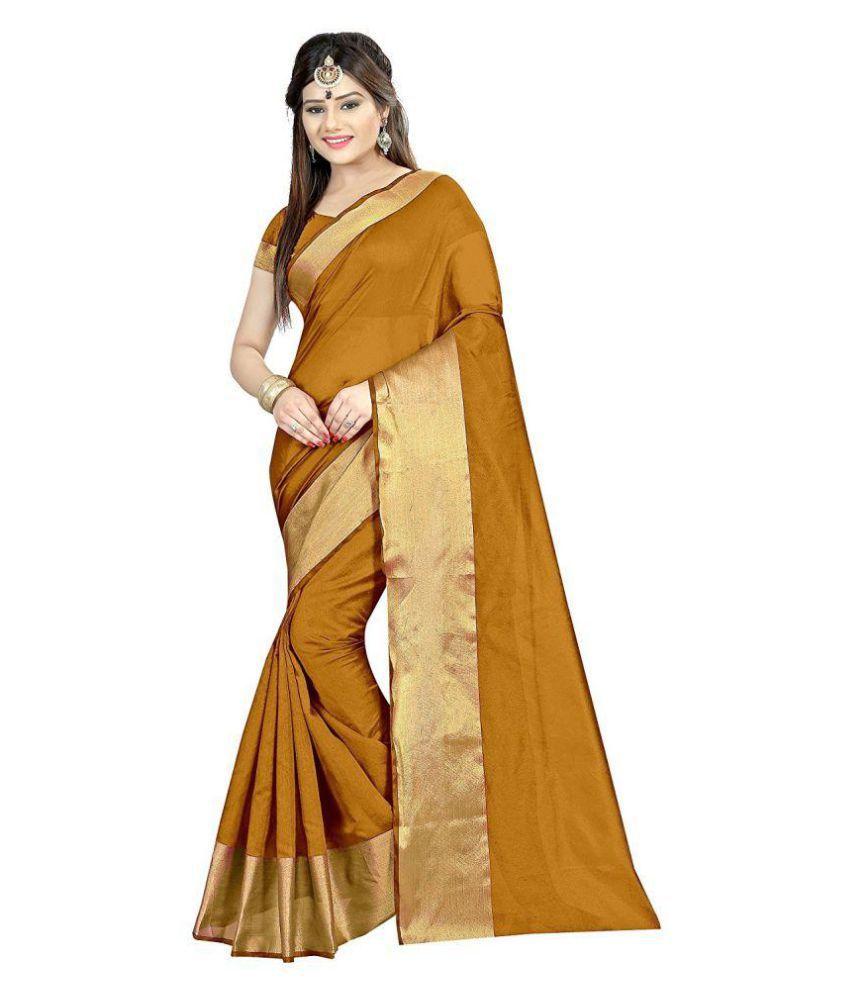 Vishnu Creations Gold Polycotton Saree