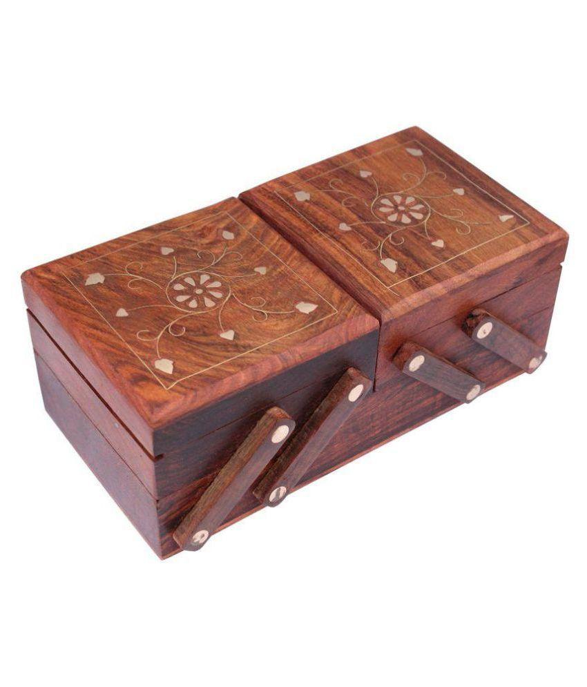 S Paonta Wooden Flip Flap Handmade Jewellery Box for Women