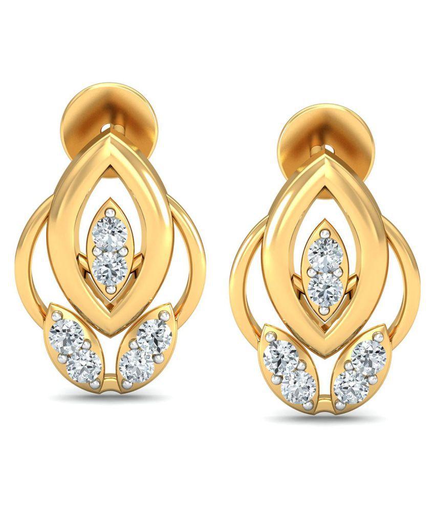 Glitterati By Asmi 18k BIS Hallmarked Gold Diamond Studs
