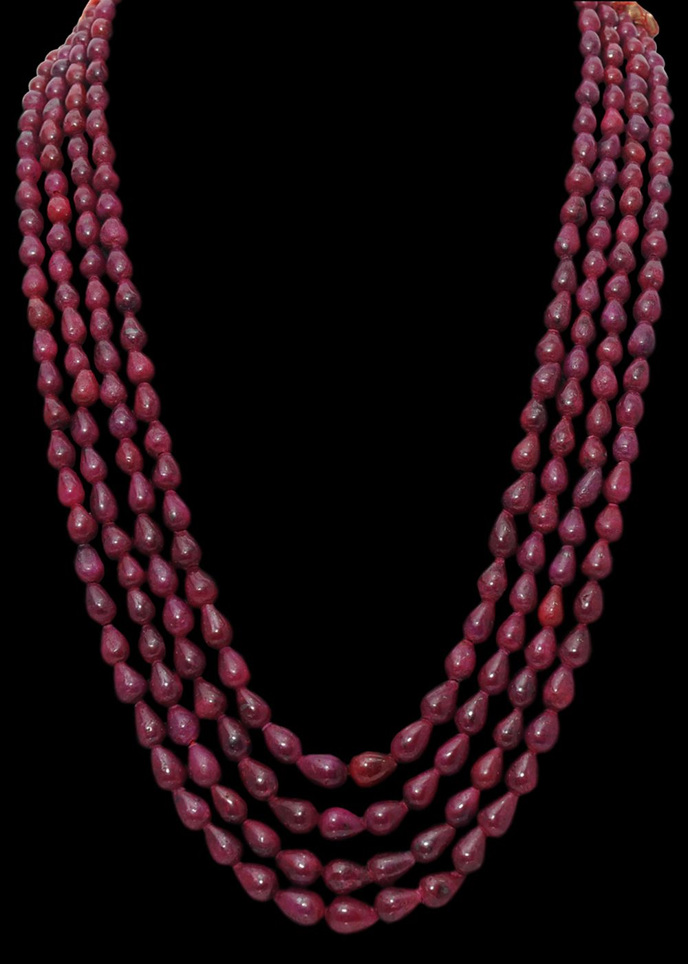 4 Rows of Natural Ruby Gemstone Drop Shaped Bead Necklace