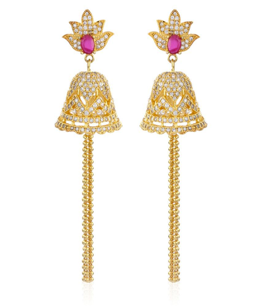 Fasherati CZ And Pink Stone Lotus Bell Earrings With Chain Tassels For Women