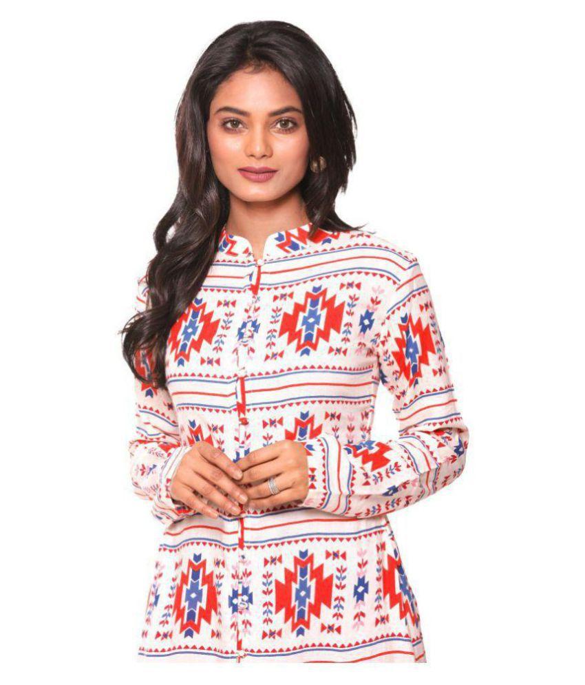 Unimod Multicoloured Cotton Front Slit Kurti