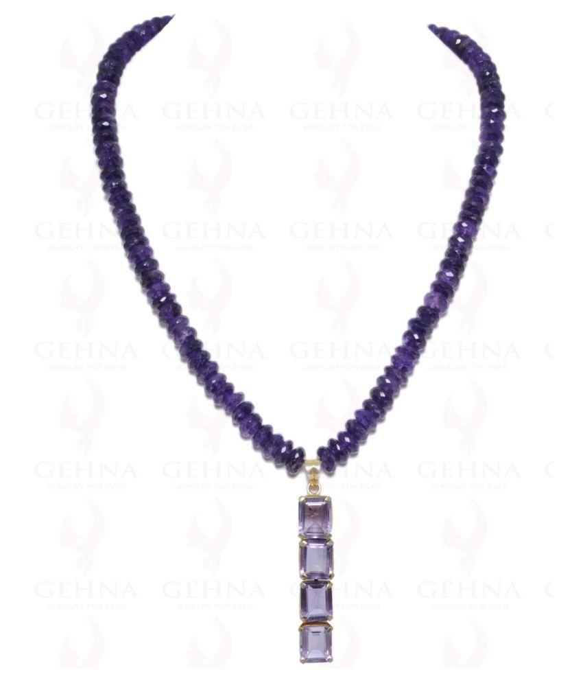 Amethyst Gemstone Pendant & Earring Set Made In .925 Sterling Silver