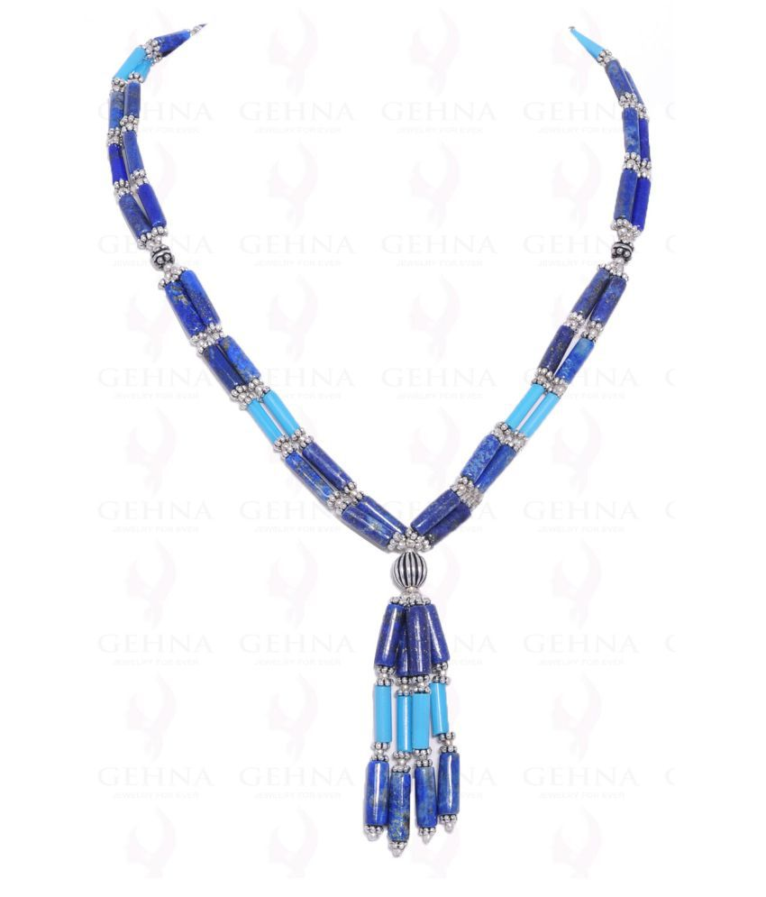 Lapis Lazuli & Turquoise Gemstone Tube Shaped Bead Necklace Set