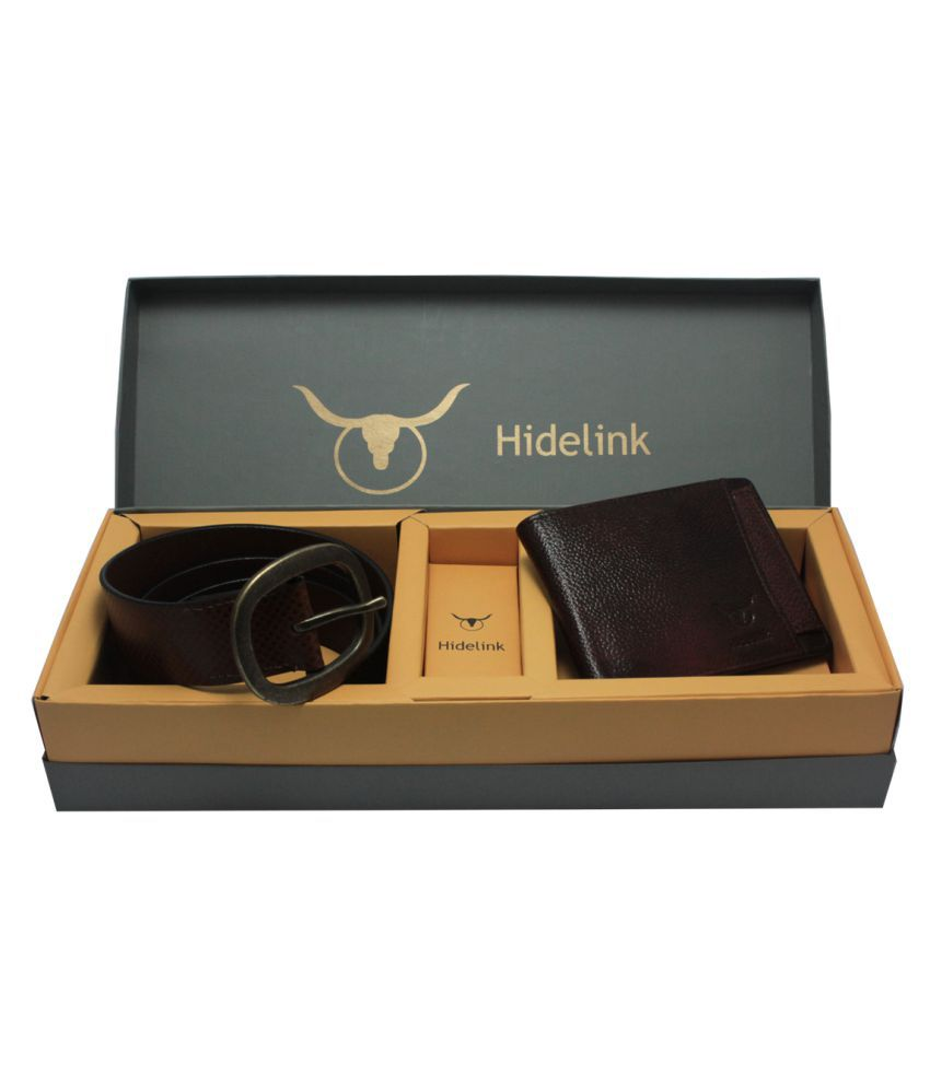 Hidelink Multi Leather Belts Wallets Set Belts