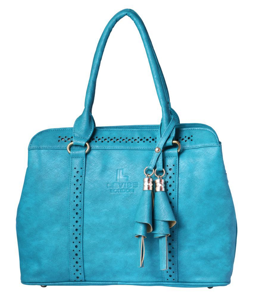 Levise London Light Blue Artificial Leather Shoulder Bag