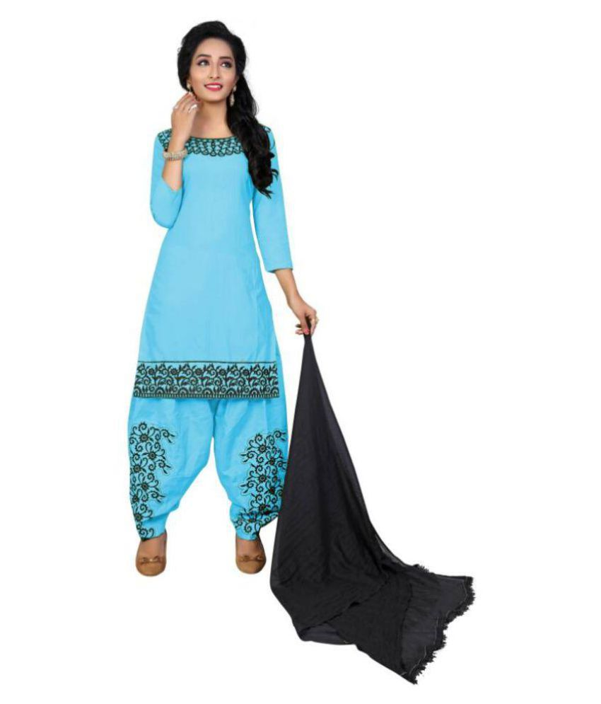 Megha Designer Blue Cotton Dress Material