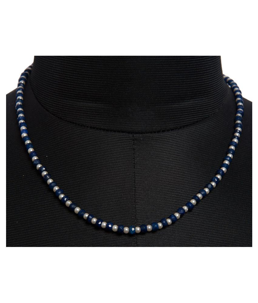 Pearl & Blue Sapphire Faceted Gemstone Bead Necklace