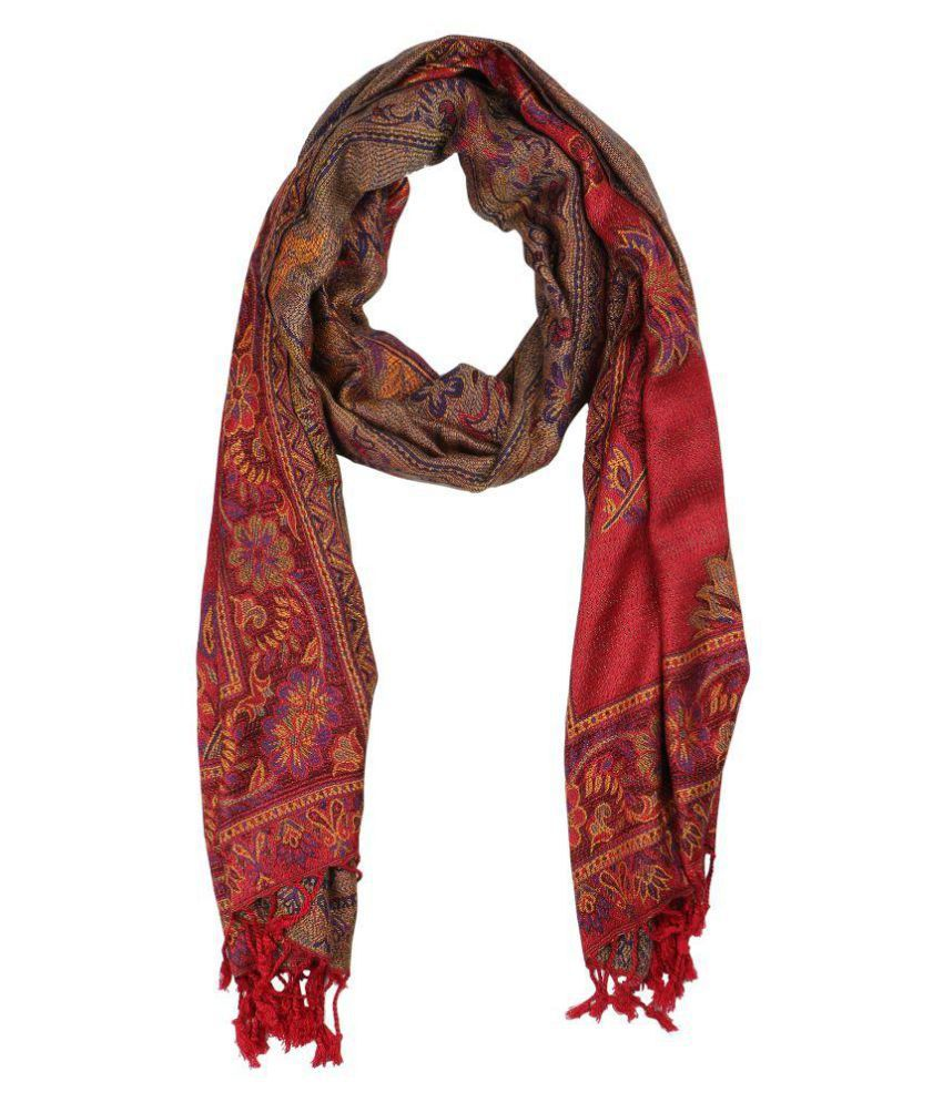 Anekaant Red Floral Shawl