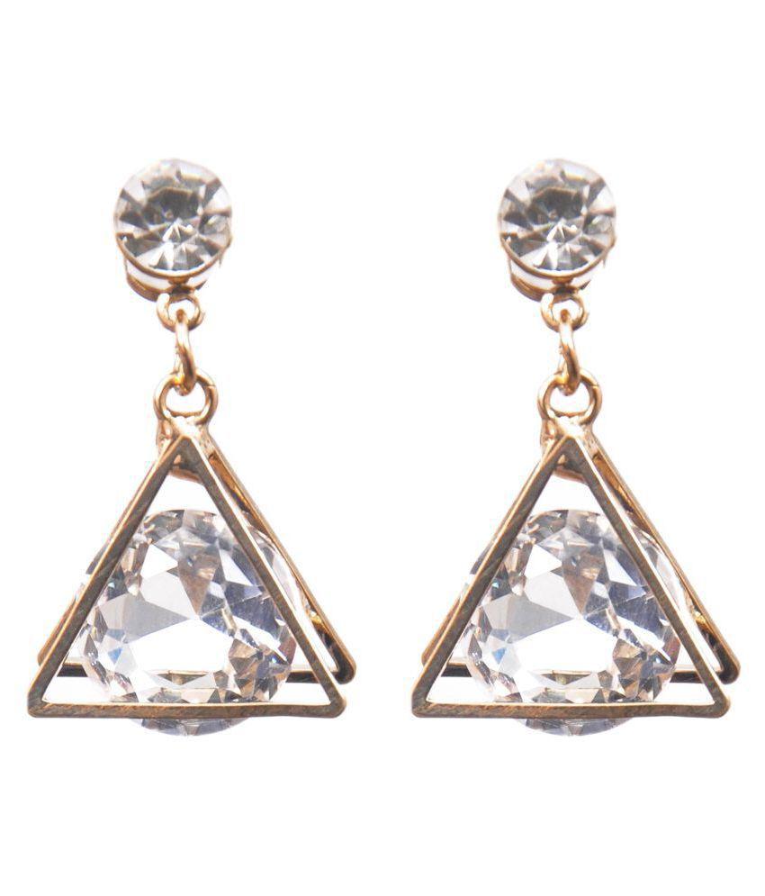 Glass Clear Triangular Crystal Drop Earrings