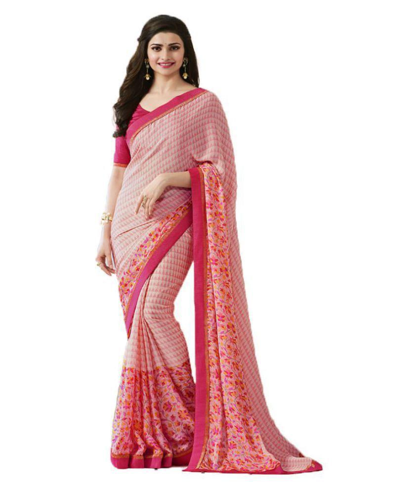 HashTag Fashion Pink Chiffon Saree