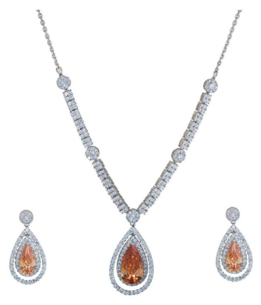 Gimmicks Rhodium Sleek Neckline Set with Rust Teardrop For Women&Girls,GMKS11