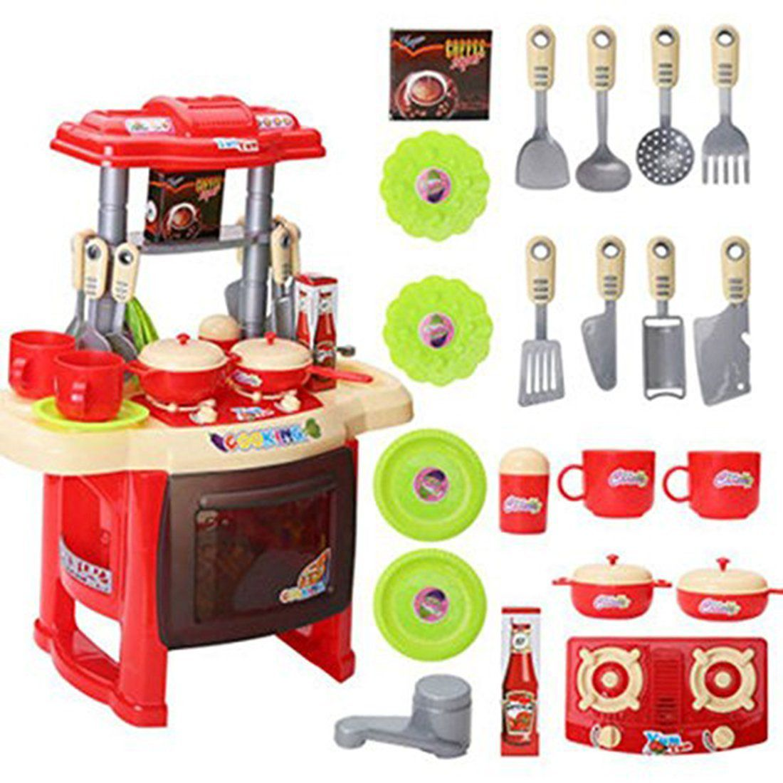 Webby kids kitchen set children kitchen toys large kitchen for Fake kitchen set