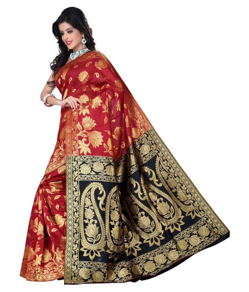 House Of Zii Red Banarasi Silk Saree