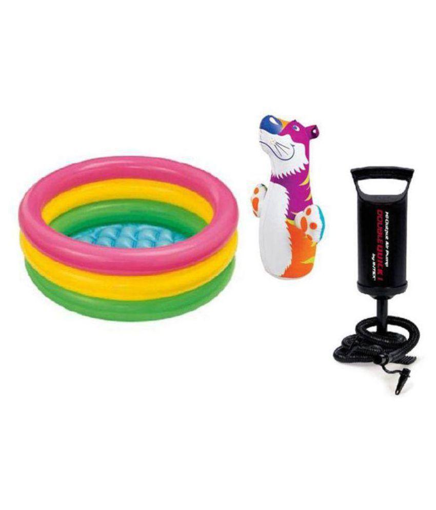 VIRU Combo of Hit Me Bop Bag, 2 Feet Baby Swimming Pool and Hand Pump