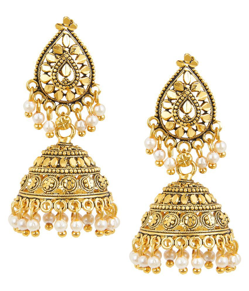 Shining Jewel 24K Antique Gold Jhumki Earring with Pearls (SJ_803)