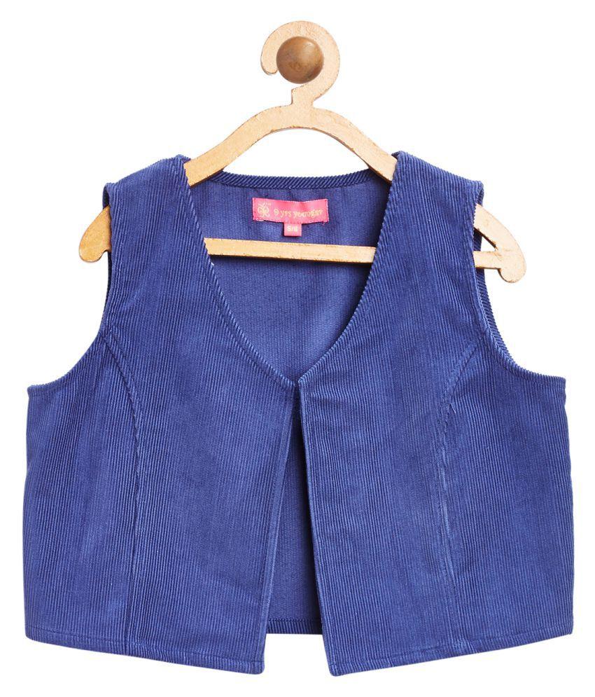Blue Solid Corduroy Jacket