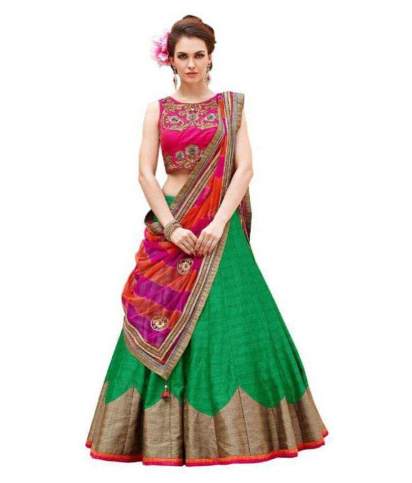 29d867f76e7 Indus Fabvilla Green and Beige Bangalore Silk Circular Semi Stitched Lehenga  - Buy Indus Fabvilla Green and Beige Bangalore Silk Circular Semi Stitched  ...