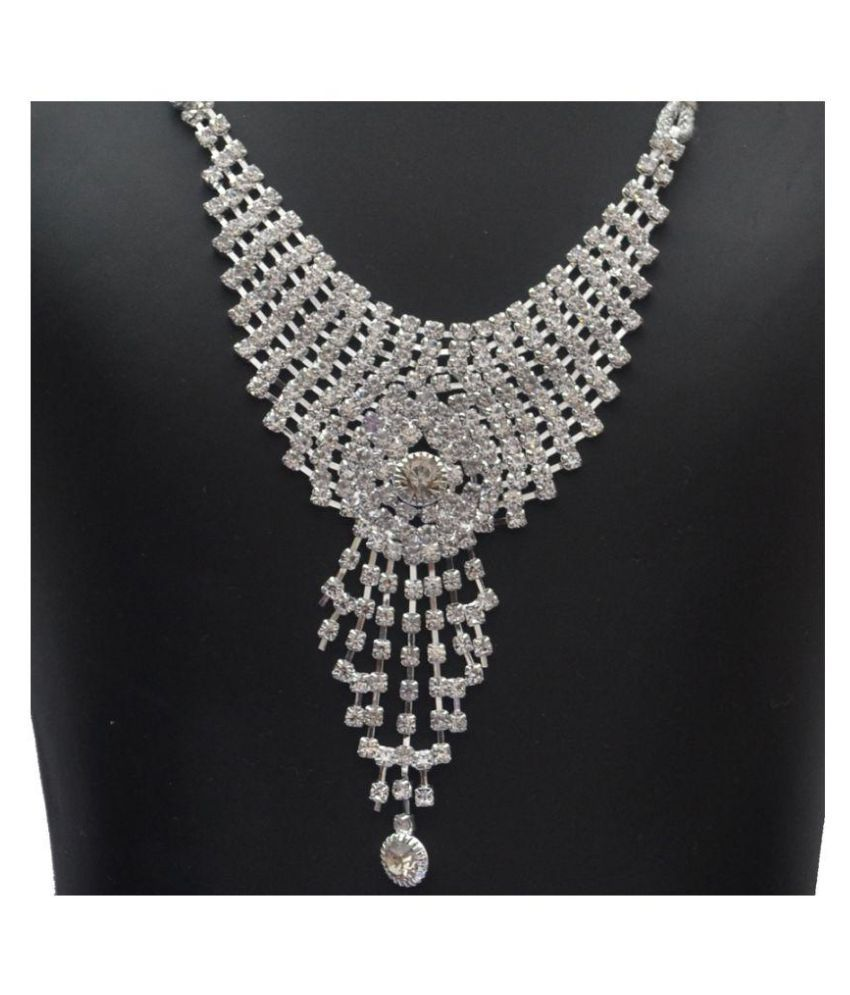 MENAL SILVER PLATED WHITE DIAMOND NECKLACE SET