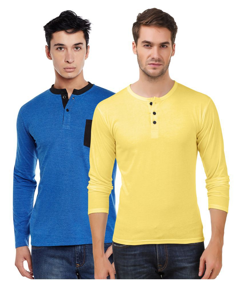 Sen Voler Blue Henley T-Shirt Pack of 2