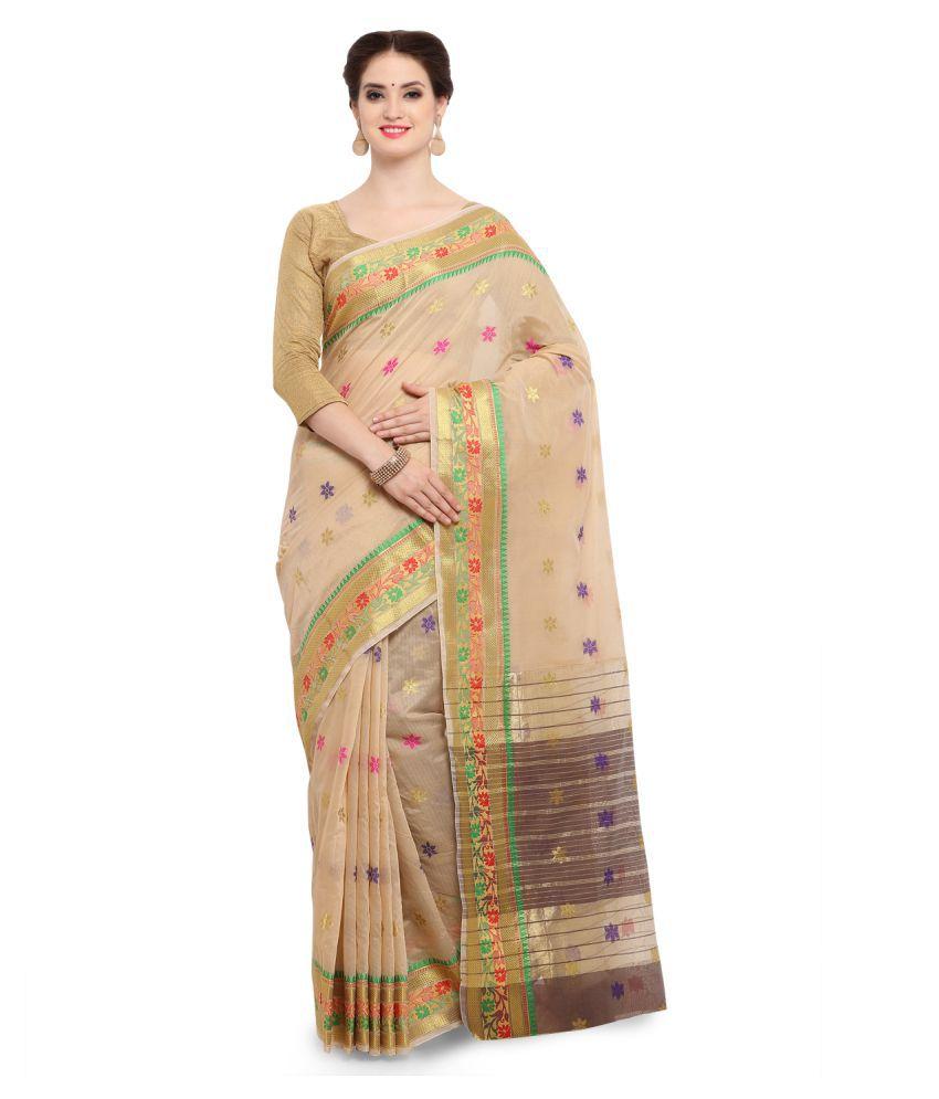 Yadu Nandan Fashion Beige Cotton Silk Saree
