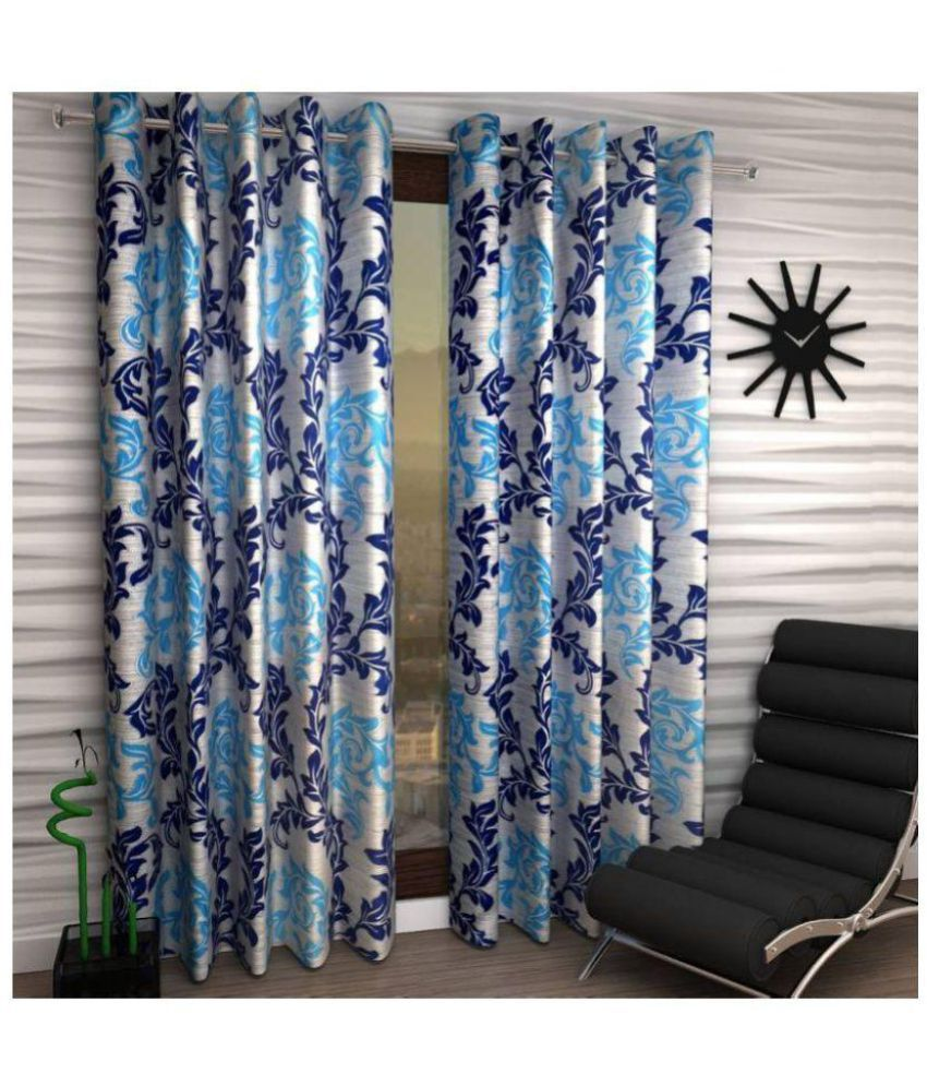 Tanishka Fabs Set of 3 Door Eyelet Curtains Floral Multi Color