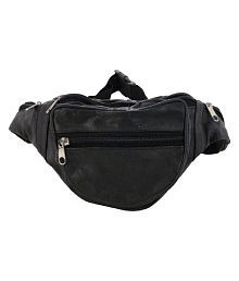 A One Bags Black Pure Leather Small Waist Bag