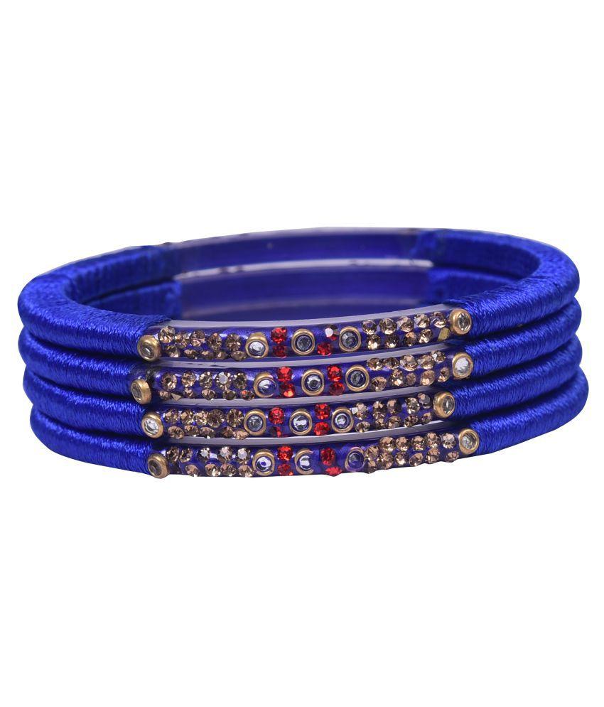 Sukriti Stylish Partywear Navy Blue Silk Thread Bangles for Women - Set of 4