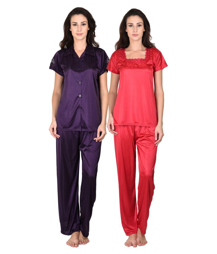 Go Glam Poly Satin Nightsuit Sets