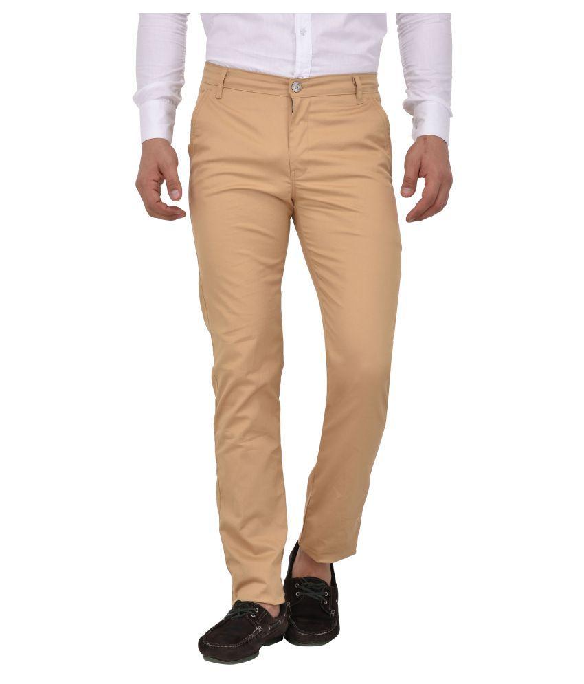 Style Café Beige Slim -Fit Flat Trousers