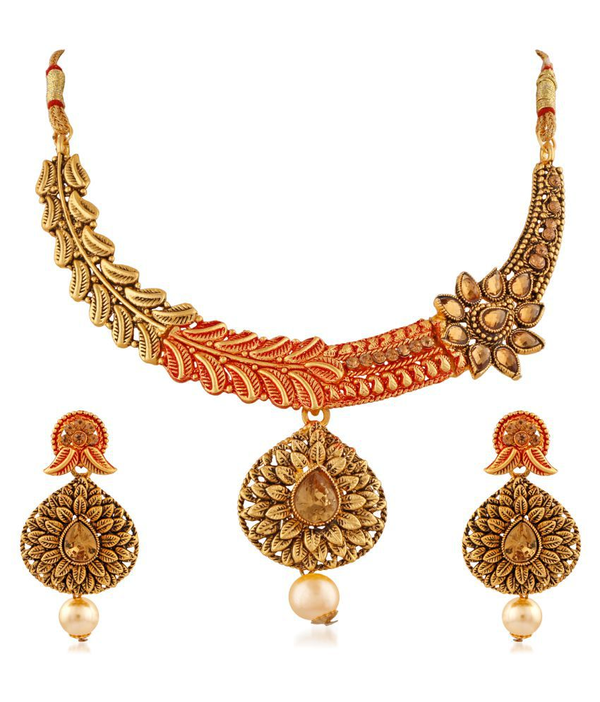 PALASH GRACEFUL MEENAKARI DESIGNER NECKLACES SET WITH LCT STONES & PEARL DROP  FOR WOMEN AND GIRLS