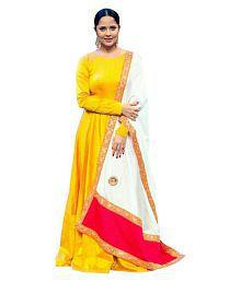 ethnic diwa Yellow Silk Anarkali Semi-Stitched Suit