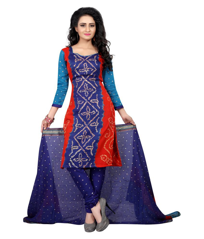 Wedding Villa Multicoloured Cotton Dress Material
