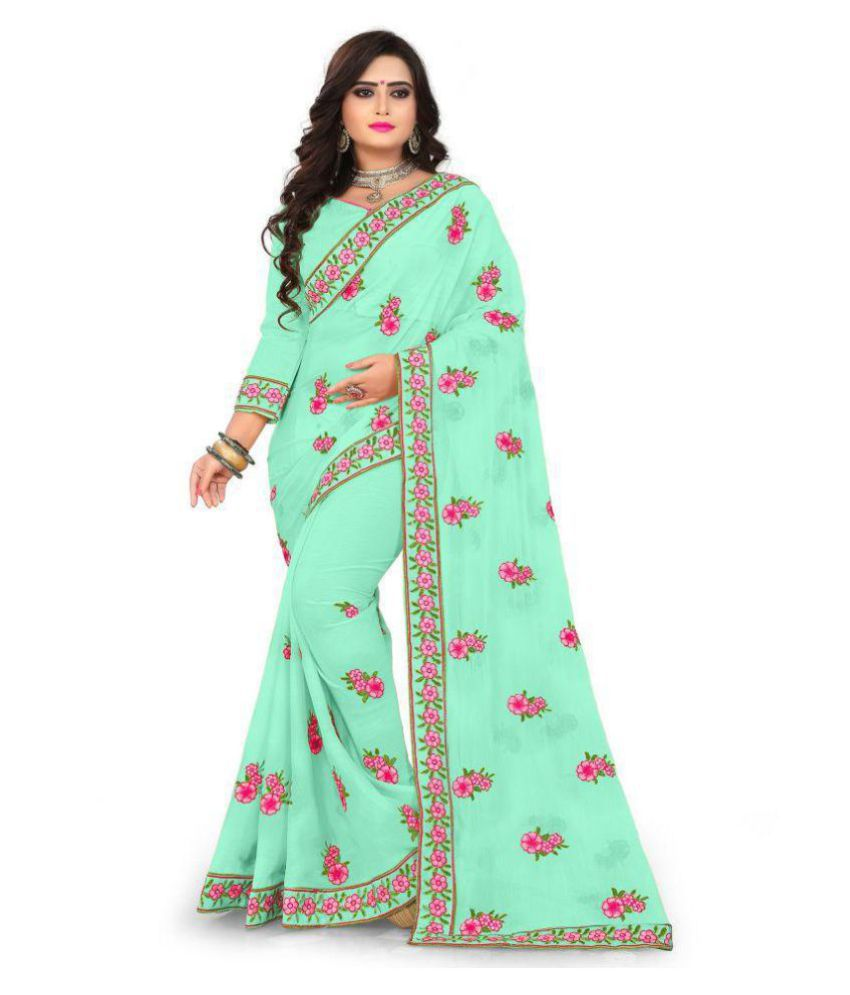 kedar fab Green Georgette Saree